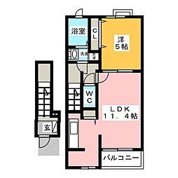 ベルフィーユB[2階]の間取り