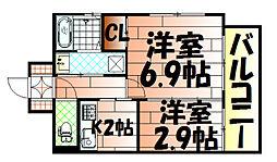 アベニュー黒崎[802号室]の間取り