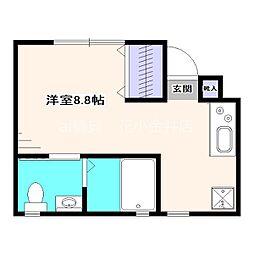 西武新宿線 花小金井駅 徒歩4分の賃貸アパート 1階1Kの間取り