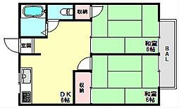 兵庫県神戸市北区唐櫃台2丁目の賃貸アパートの間取り