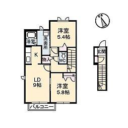 広島県三原市本郷南1丁目の賃貸アパートの間取り