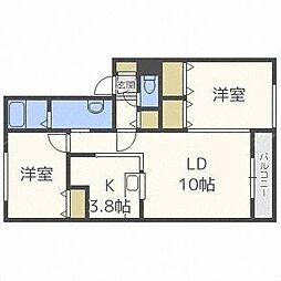 北海道札幌市東区北五十条東15丁目の賃貸アパートの間取り