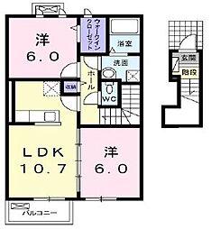香川県東かがわ市帰来の賃貸アパートの間取り
