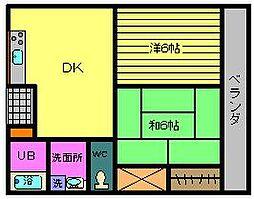 ラインマンション1[1階]の間取り