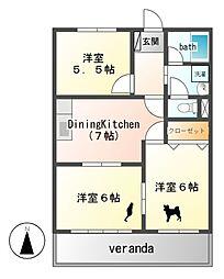 東海今泉新町ハイツI・II[3階]の間取り