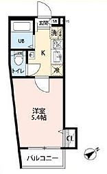 JR南武線 西国立駅 徒歩3分の賃貸アパート 1階1Kの間取り