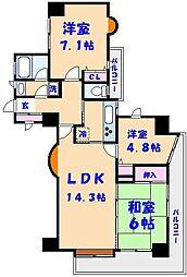 千葉県船橋市宮本9丁目の賃貸マンションの間取り