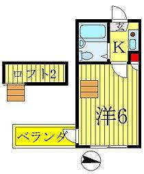 千房ハイツ[2階]の間取り