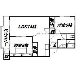 静岡県浜松市中区高丘北3丁目の賃貸マンションの間取り