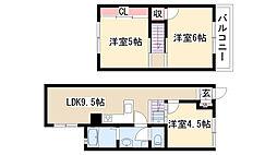 [テラスハウス] 愛知県名古屋市天白区表台 の賃貸【/】の間取り