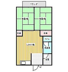 コーポ芦原園[2階]の間取り