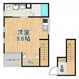 南海高野線 北野田駅 徒歩2分の賃貸アパート 2階ワンルームの間取り