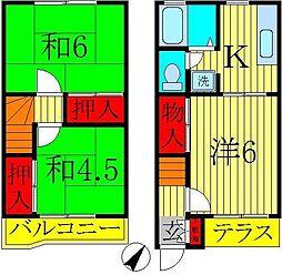 [テラスハウス] 千葉県鎌ケ谷市北中沢2丁目 の賃貸【/】の間取り