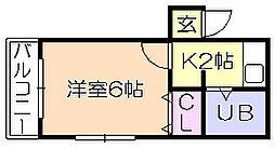 コーポ藤吉[3階]の間取り
