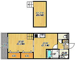 JR片町線(学研都市線) 忍ヶ丘駅 徒歩15分の賃貸アパート 2階1DKの間取り