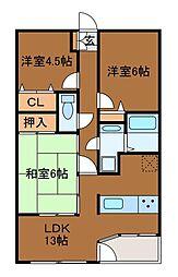 クレアハウス弐番館[4階]の間取り