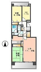愛知県名古屋市西区鳥見町2丁目の賃貸マンションの間取り