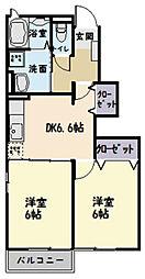 I :KM2 B棟[101号室]の間取り