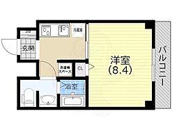 ヒマワリマンション 4階1Kの間取り
