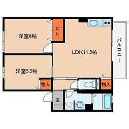 奈良県宇陀市榛原萩原の賃貸アパートの間取り