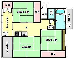 兵庫県神戸市垂水区多聞台3丁目の賃貸マンションの間取り