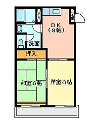広島県呉市天応南町の賃貸アパートの間取り