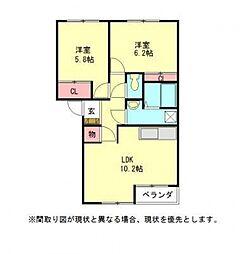 愛知県一宮市今伊勢町馬寄字山島の賃貸アパートの間取り