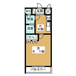愛知県名古屋市中川区戸田ゆたか1丁目の賃貸アパートの間取り