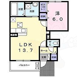 西真美2丁目アパート 1階1LDKの間取り