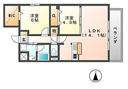 メルヴェーユ藤井寺[1階]の間取り