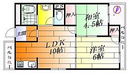 長野コーポB棟[2階]の間取り