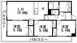 パークハイツ万代[6階]の間取り