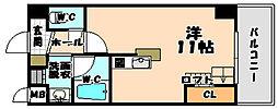 大阪府大阪市東淀川区下新庄4丁目の賃貸マンションの間取り