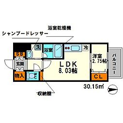 ディームス江坂駅前I 5階1LDKの間取り