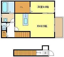 コンフォート青山A棟 2階1DKの間取り