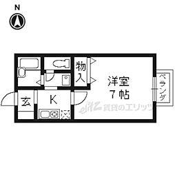 阪急京都本線 大山崎駅 徒歩5分の賃貸マンション 1階1Kの間取り