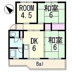 コーポ若竹[3階]の間取り