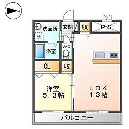 (仮称)精華町北稲八間新築賃貸マンション 3階1LDKの間取り