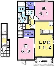 大阪府枚方市尊延寺3丁目の賃貸アパートの間取り