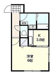 神奈川県茅ヶ崎市十間坂2丁目の賃貸アパートの間取り