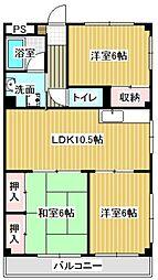 愛知県名古屋市中川区打中1丁目の賃貸マンションの間取り