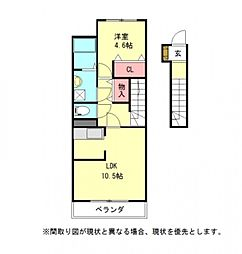 愛知県一宮市東両郷町の賃貸アパートの間取り