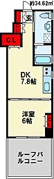 KUMAMOTO FLAT 2階1DKの間取り