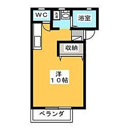 ガーデニア21A棟 2階ワンルームの間取り