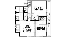 兵庫県宝塚市清荒神1丁目の賃貸アパートの間取り