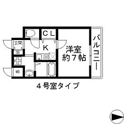 GOOD LIFE 岩田 7階1Kの間取り
