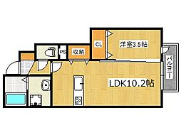 マ・メゾン岩屋 1階1LDKの間取り