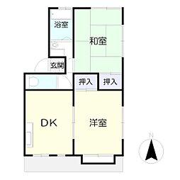 岩田コーポ[201号室]の間取り