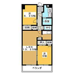 栃木県宇都宮市駅前通り2丁目の賃貸マンションの間取り
