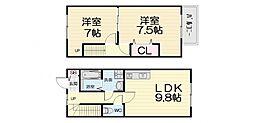 大阪府高石市加茂2丁目の賃貸アパートの間取り